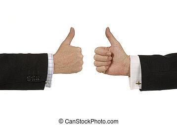 abandon, deux, hommes affaires, signs., pouces
