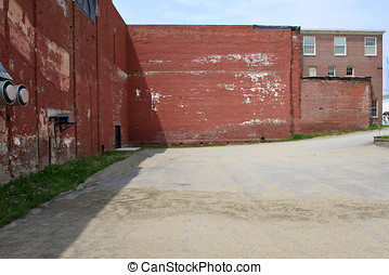 Abandon factory and parking lot - Distressed abandon factory...