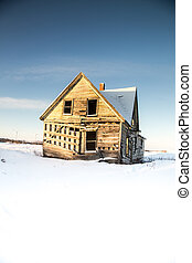 Abandon home in winter