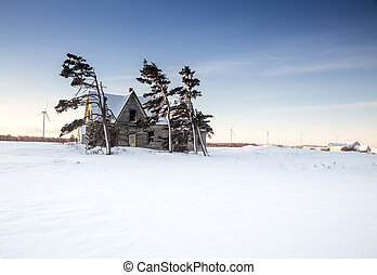 Abandon house in winter in rural canada