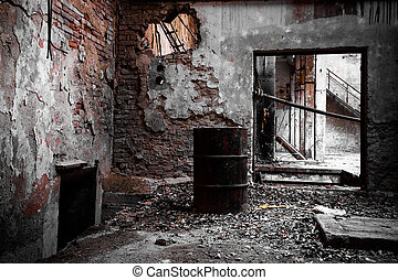 abandon industrial interior - a desolate old industrial ...