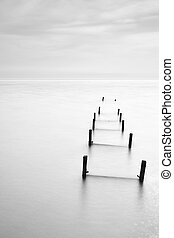 Abandon jetty in black and white