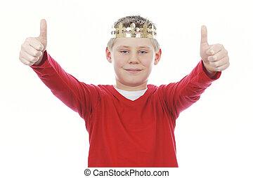 abandon, jeune garçon, pouces, vous, couronne