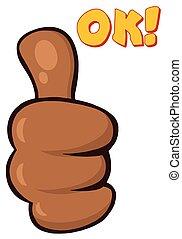 abandon, main, américain, pouces, africaine, dessin animé, geste