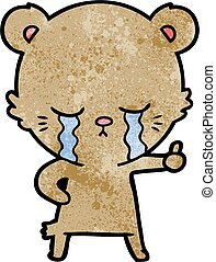 abandon, ours, pouces, pleurer, dessin animé