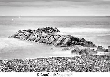Abandon Rock Pier - Fine art black and white image of a ...