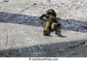 abandonado, antigas, quebrada, boneca, ligado, cinzento, chão concreto