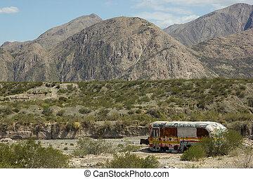 abandonado, autocarro, em, a, desertos, de, argentina