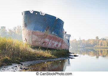 abandonado, barcaza, en, el, bahía