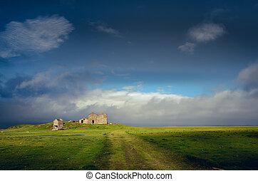 abandonado, campo, islândia, ruínas, predios, paisagem, vista