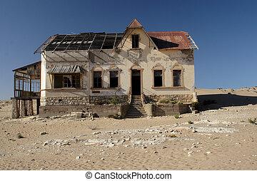 abandonado, casa, en, el, pueblo fantasma, kolmanskop, namibia