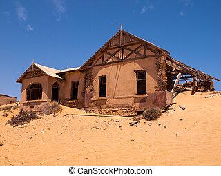 abandonado, casa, en, kolmanskop, fantasma, aldea