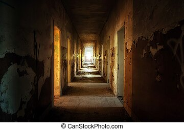 abandonado, casa, interior