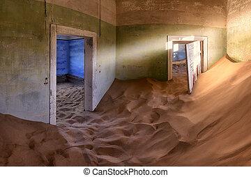 abandonado, casa, lleno, de, arena, en, el, pueblo fantasma, de, kolmanskop, namibia