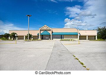 abandonado, edifício comercial