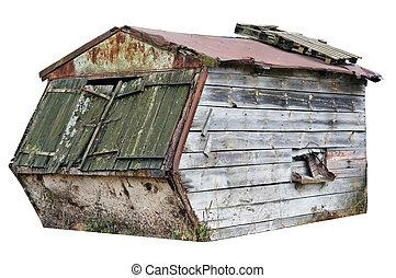 abandonado, envelhecido, madeira, galpão