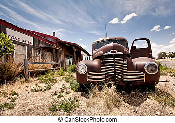 abandonado, estados unidos de américa, restaraunt, ruta 66,...