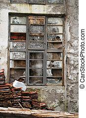 abandonado, industrial, complejo, exterior