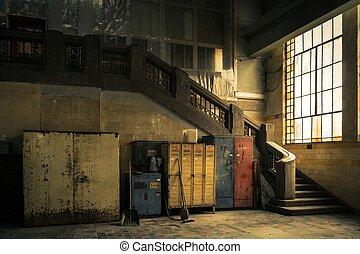 abandonado, industrial, interior