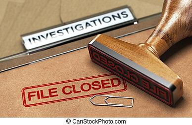 abandonado, investigação, serviços, arquivo, investigação, closed.