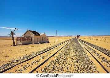 abandonado, luderitz, localizado, estación, namibia,...