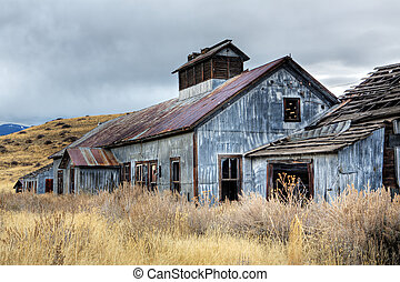 abandonado, minería, edificios