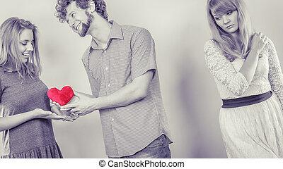 abandonado, mulher, com, enamored, par