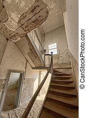 abandonado, namibia, edificio, escalera