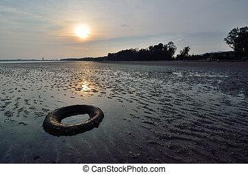 abandonado, neumático, en la playa, cuándo, el, sol, va, abajo
