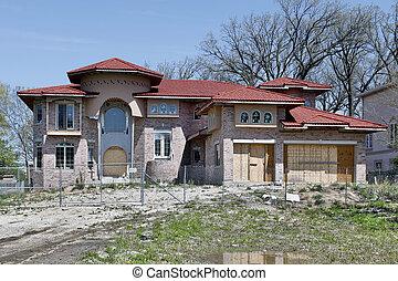 abandonado, novo, construção, lar