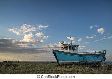abandonado, pôr do sol, bote, praia, paisagem, pesca