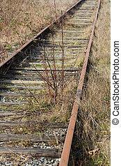 abandonado, pista, ferrocarril