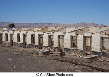 abandonado, pueblo, en, el, desierto de atacama