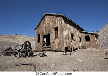 abandonado, pueblo fantasma, en, el, desert.