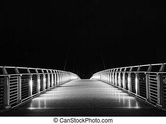 abandonado, puente, por la noche