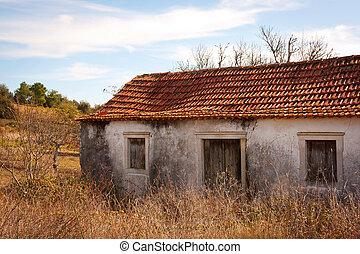 abandonado, rural, casa