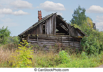 abandonado, ruso, tradicional, rural, casa