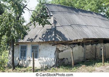 abandonado, viejo, casa, en, ucranio, aldea