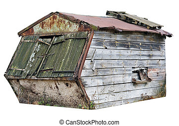 abandonado, viejo, de madera, cobertizo
