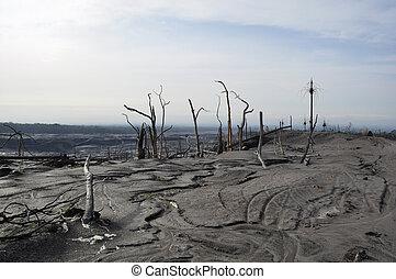 abandonado, volcán, después, erupción