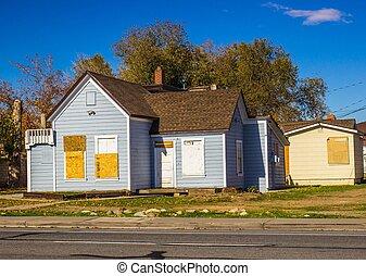 abandonado, y, windows, arriba, puertas, hogar, abordar