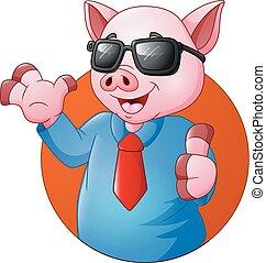 abandone, porca, polegares, homem negócios, caricatura