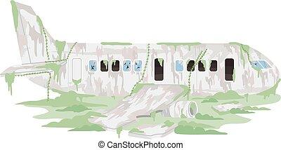 Abandoned Airplane Illustration - Illustration of an ...