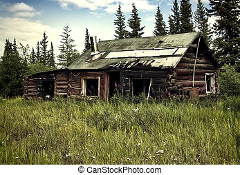 Abandoned Alaskan traditional cabin with fire damage in summer.