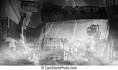 Abandoned amusement park. Fun town