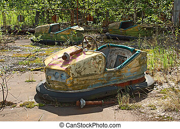 Abandoned car in amusement park in Pripyat, Chernobyl area