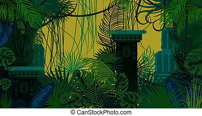 Abandoned ancient jungle nature background. Dark green and...