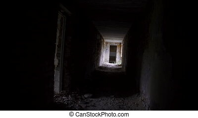 Abandoned and destroyed building, rotated point of view.