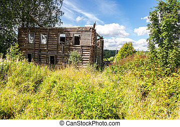 Abandoned and destruction old rural wooden house