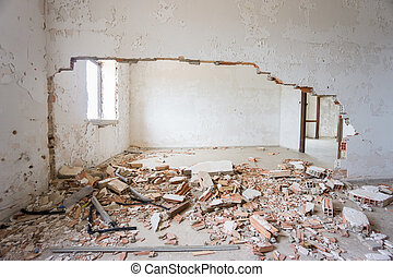 Abandoned and ruined house. - Interior of abandoned and...